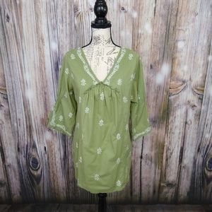 Soft Surroundings Embroidered Puckered Blouse Sm
